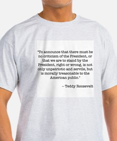 T. Roosevelt quote -  Ash Grey T-Shirt