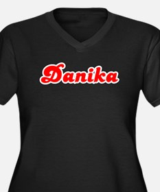 Retro Danika (Red) Women's Plus Size V-Neck Dark T