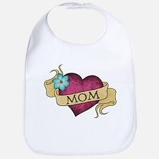 Mom Heart Tattoo Bib