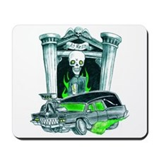 Spooky reverend and hearse mousepad