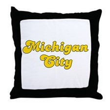 Retro Michigan City (Gold) Throw Pillow