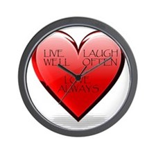 Live Laugh Love Heart Wall Clock