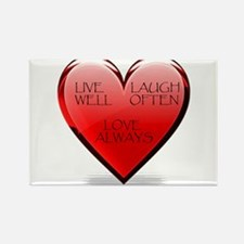 Live Laugh Love Heart Rectangle Magnet (10 pack)