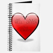 Live Laugh Love Heart Journal
