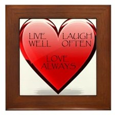 Live Laugh Love Heart Framed Tile