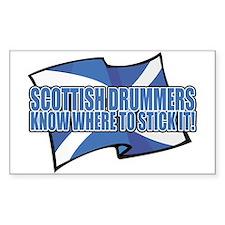 Scottish Drumers Know Where t Sticker (Rectangular