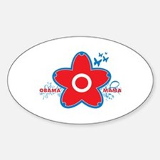 obama mama flower - red_04 Oval Decal