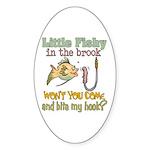 Little Fishy in the Brook Oval Sticker