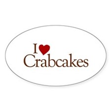 I Love Crabcakes Oval Decal