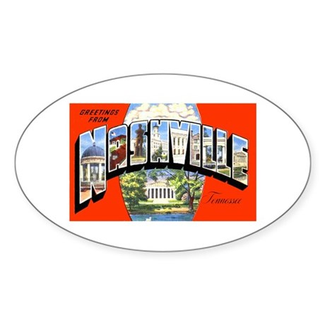 Nashville Tennessee Greetings Oval Sticker