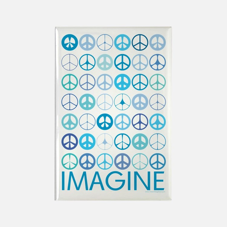Imagine Peace Signs Rectangle Magnet (10 pack)