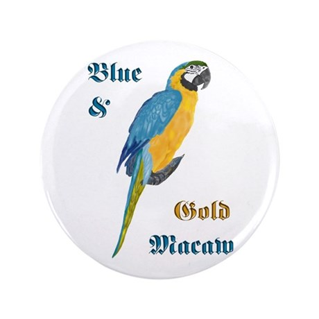 """Blue and Gold Macaw 3.5"""" Button (100 pack)"""