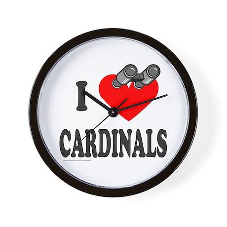 I HEART CARDINALS Wall Clock