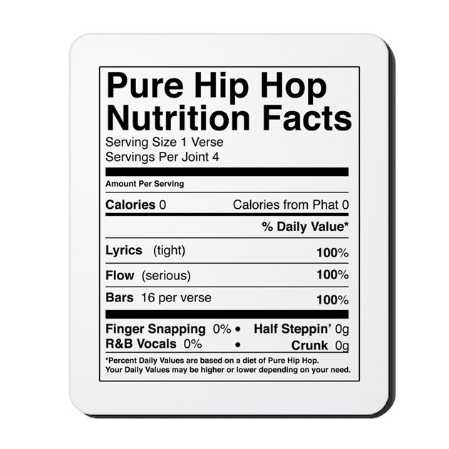 Hip Hop Nutrition Facts Mousepad By Kubasbodega