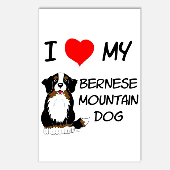 I Love Heart Bernese Dog Postcards (Package of 8)