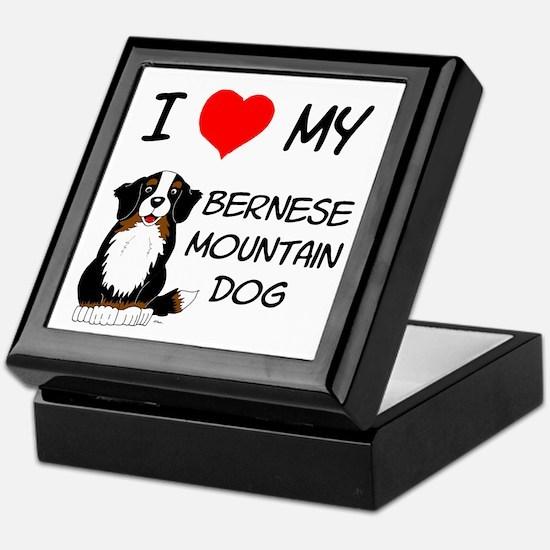 I Love Heart Bernese Dog Keepsake Box