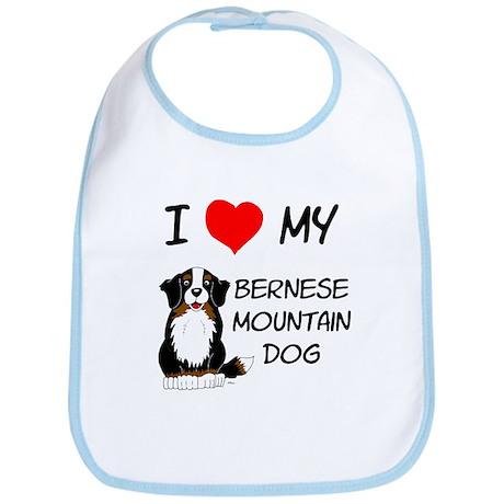 I Love Heart Bernese Dog Bib