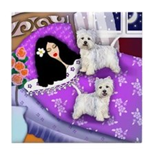 GIRL & WESTIE DOGS BED Tile Coaster