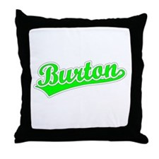 Retro Burton (Green) Throw Pillow