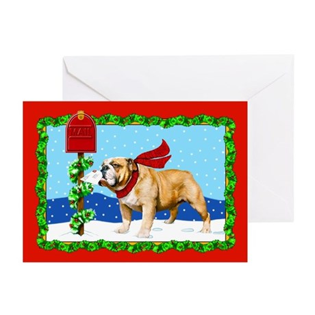 Christmas Bulldog Mail Greeting Cards (Pk of 20)