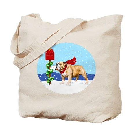 Christmas Bulldog Mail Tote Bag