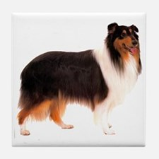 Black Rough Collie Tile Coaster