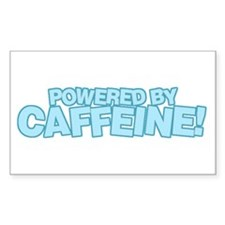 Powered by caffeine blue Rectangle Decal