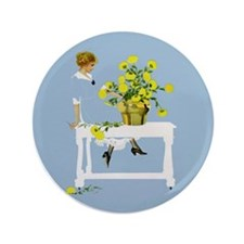 """CHRYSANTHEMUMS by Coles Phillips 3.5"""" Button"""