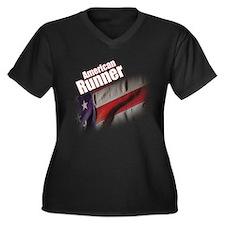 American Runner Women's Plus Size V-Neck Dark T-Sh