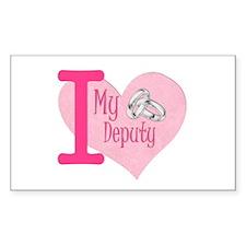 I love my deputy - pink hear Rectangle Decal