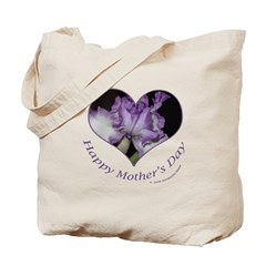 Purple Iris in Heart, Mother's Day Tote Bag