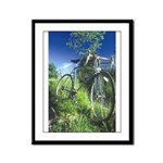 Green Bicycle Framed Panel Print