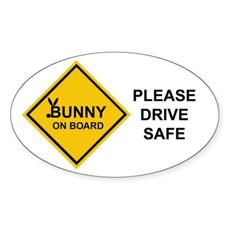 bunny on board Oval Sticker