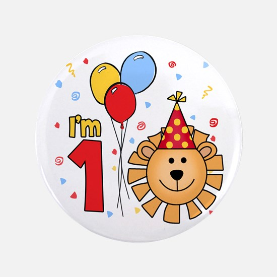 "Cool Lion Face First Birthday 3.5"" Button"