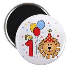 Cool Lion Face First Birthday Magnet