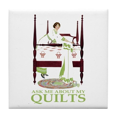 ASK ME ABOUT MY QUILTS! Tile Coaster