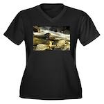 Red Stream Women's Plus Size V-Neck Dark T-Shirt