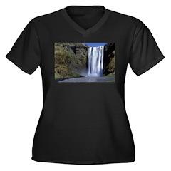 Waterfall Women's Plus Size V-Neck Dark T-Shirt