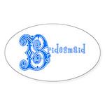 Celtic Blue Bridesmaid Oval Sticker (50 pk)