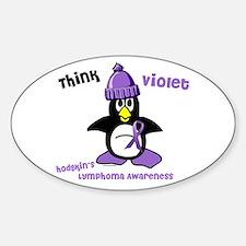 Winter Penguin 2 Hodgkin's Lymphoma Oval Decal