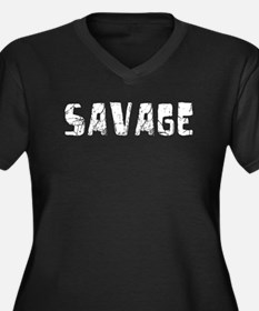 Savage Faded (Silver) Women's Plus Size V-Neck Dar