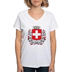 Stylish Switzerland Crest Women's V-Neck T-Shirt