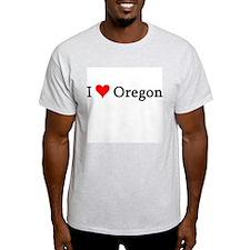 I Love Oregon Ash Grey T-Shirt