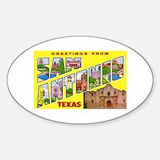 San Antonio Texas Greetings Oval Decal