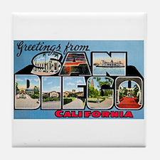 San Diego California Greetings Tile Coaster