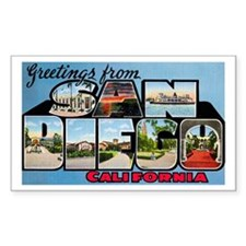 San Diego California Greetings Rectangle Decal