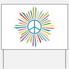 Peace Symbol Star Yard Sign