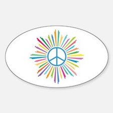 Peace Symbol Star Sticker (Oval)
