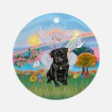 Cloud Angel2/Pug (blk) Ornament (Round)