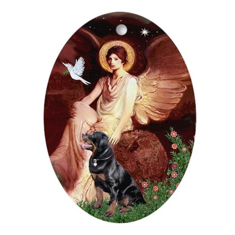 Seated Angel/Rottweiler(6) Oval Ornament